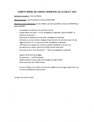 COMPTE RENDU DU CONSEIL MUNICIPAL DU 19 JUILLET 2019