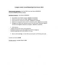 Compte rendu Conseil Municipal du 8 mars 2019